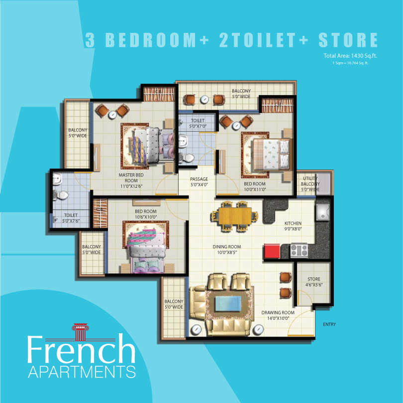 3 To 4 Bedroom Apartments Near Me: French Apartments